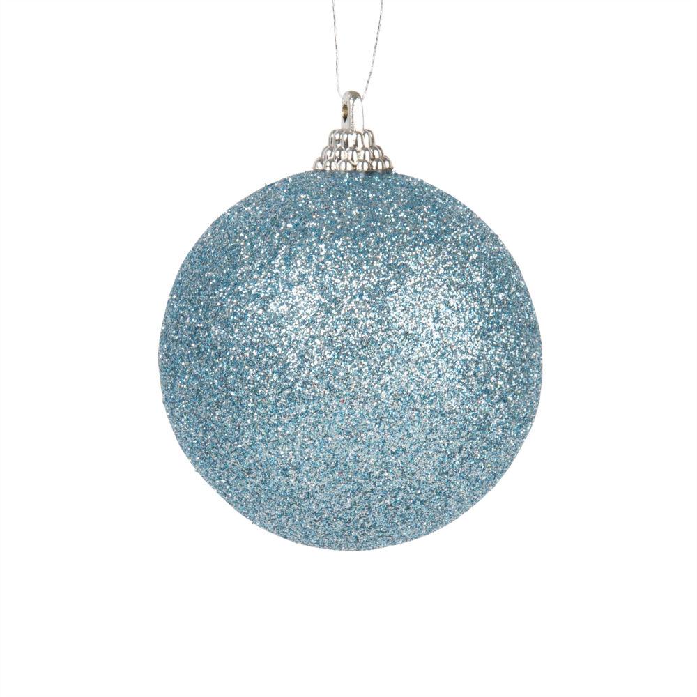 Weihnachtskugel, blau mit Glitzer
