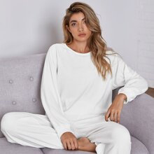 Raglan Sleeve Top With Pants Lounge Set