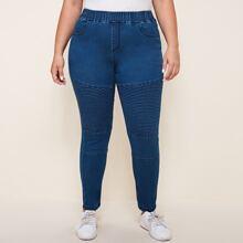 Plus Plisse Detail Skinny Jeans