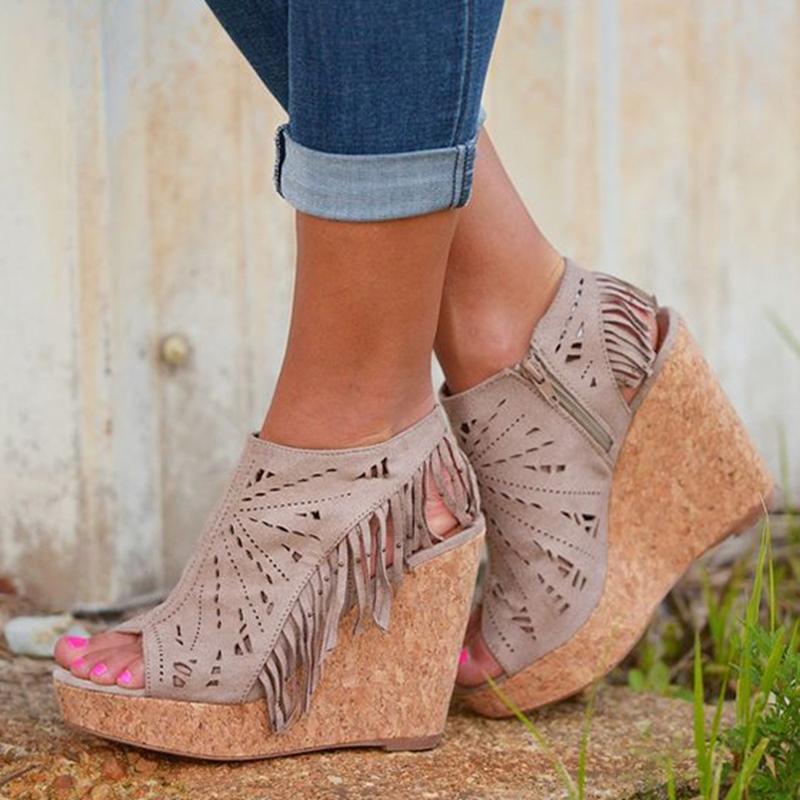 Ericdress Cut Out Tassels Wedge Sandals