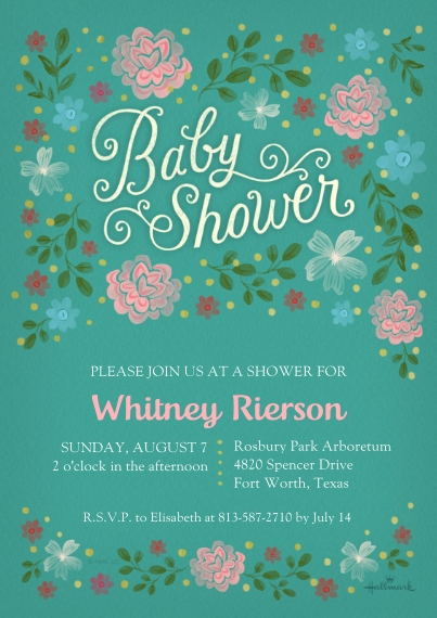 Baby Shower Invitations 5x7 Cards, Premium Cardstock 120lb with Rounded Corners, Card & Stationery -Painterly Floral Baby Shower