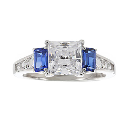 DiamonArt Cubic Zirconia & Simulated Blue Sapphire 3-Stone Ring, 10 , No Color Family