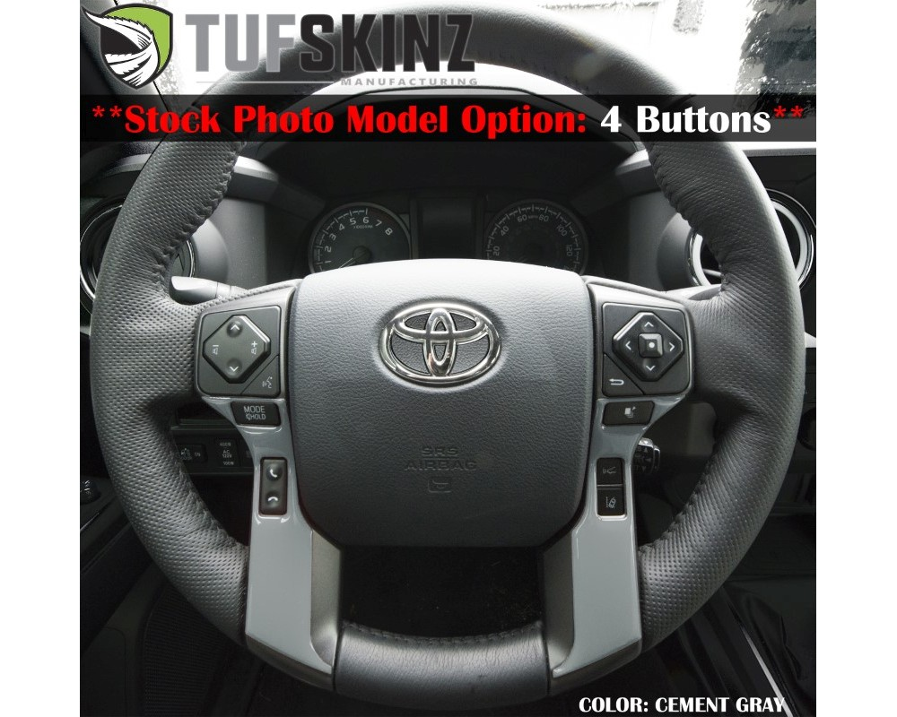 Tufskinz TAC039-RUN-GGY-G Steering Wheel Trim With 4 Buttons Fits 2014-2020 Toyota 4Runner 2 Piece Kit In Cement Gray