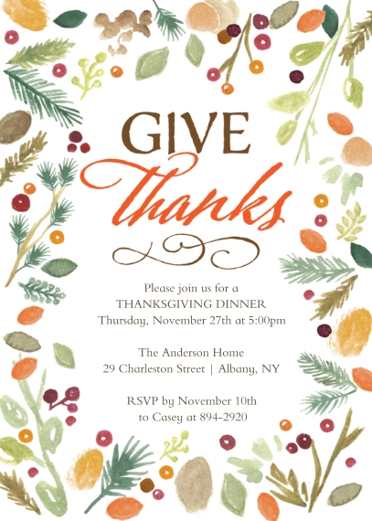 Thanksgiving Photo Cards 5x7 Cards, Premium Cardstock 120lb with Scalloped Corners, Card & Stationery -Thanksgiving Invite Watercolor
