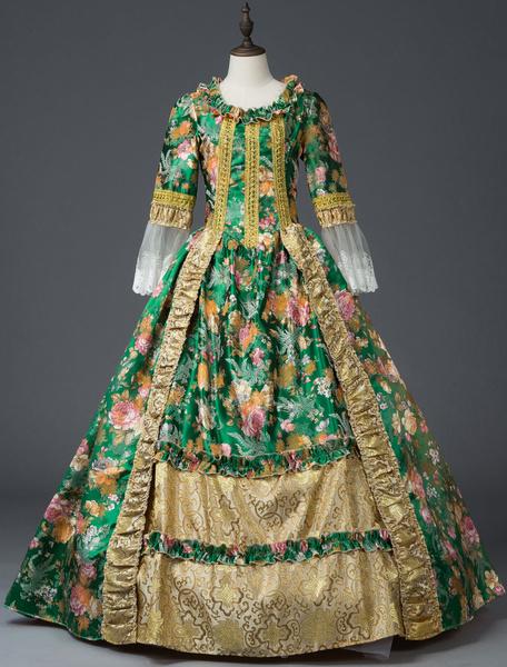 Milanoo Victorian Dress Costume Women's Green Retro Costumes Lace Bow Floral Print Rococo Dress Women Marie Antoinette Costume Halloween