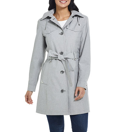 Miss Gallery Water Resistant Lightweight Raincoat, Large , Black