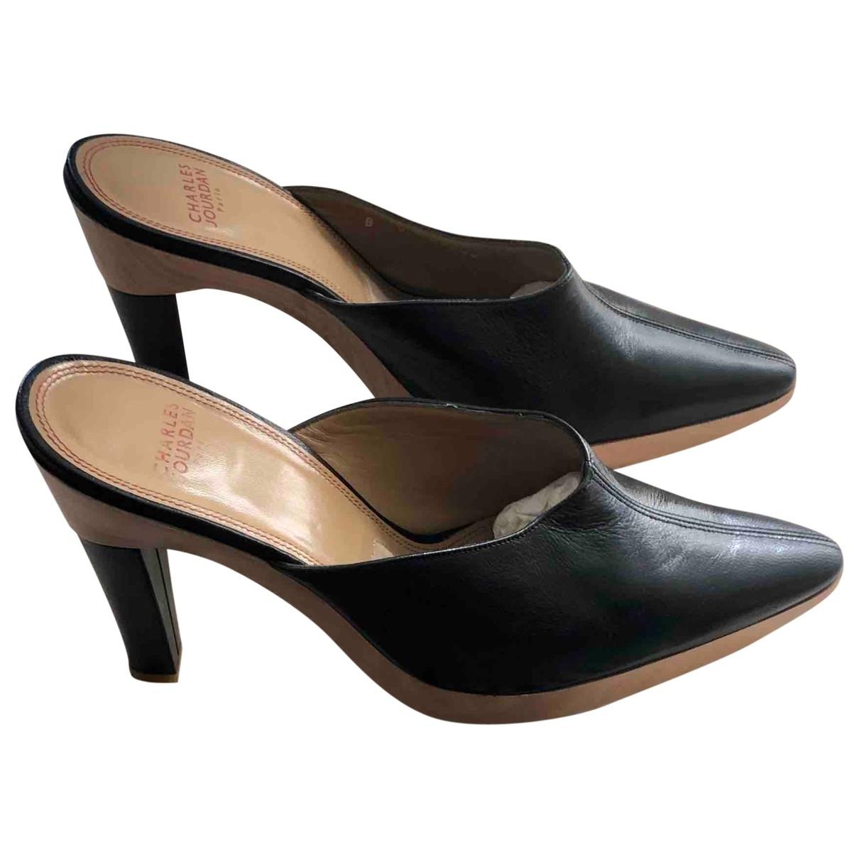 Charles Jourdan - Sabots   pour femme en cuir - noir