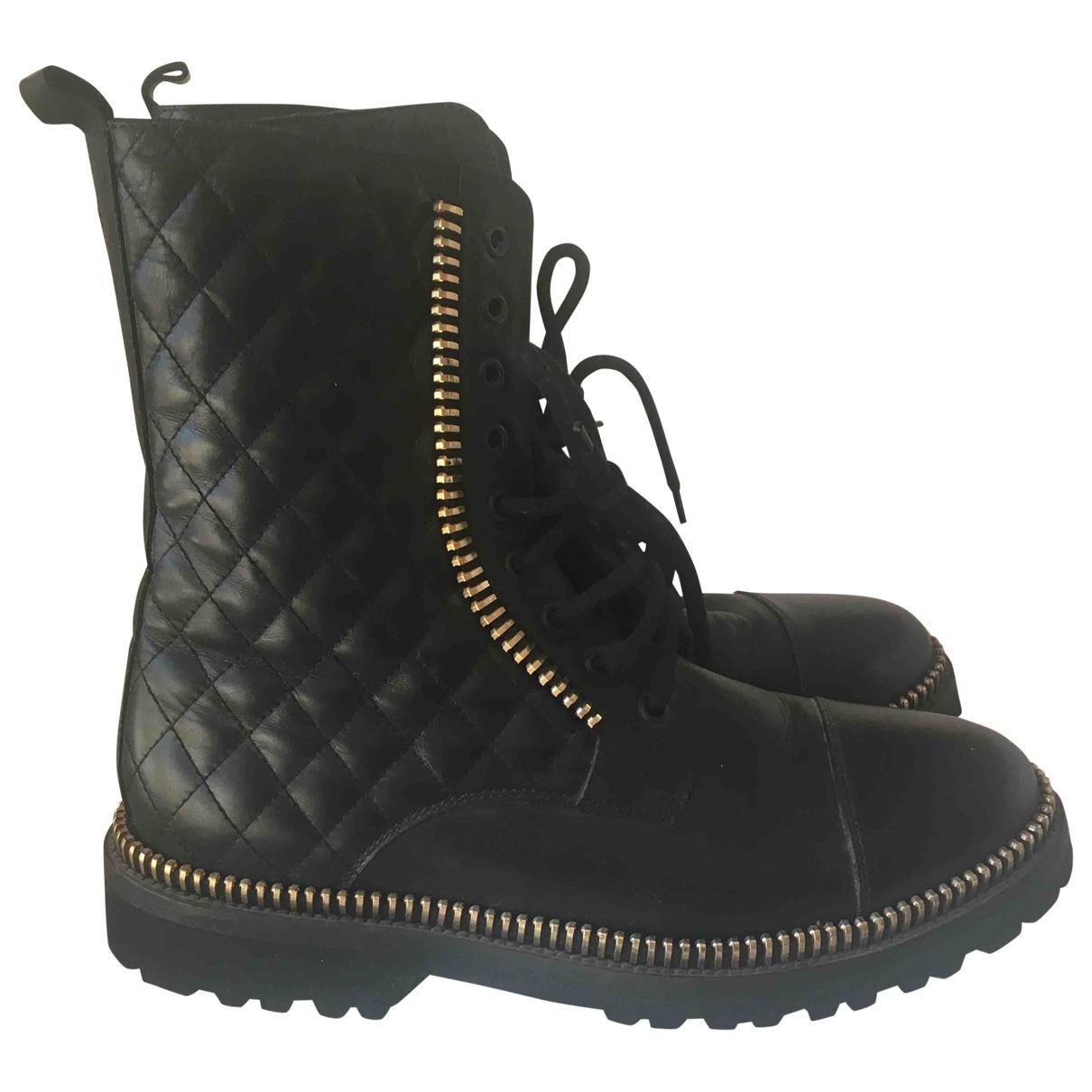 Philipp Plein - Boots   pour femme en cuir - noir