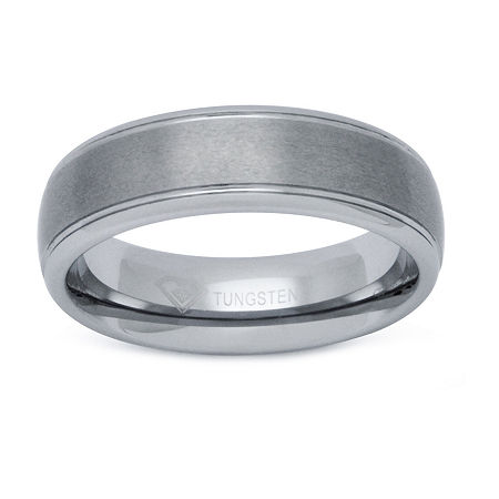 Mens 6mm Tungsten Comfort-Fit Ring, 8 , White