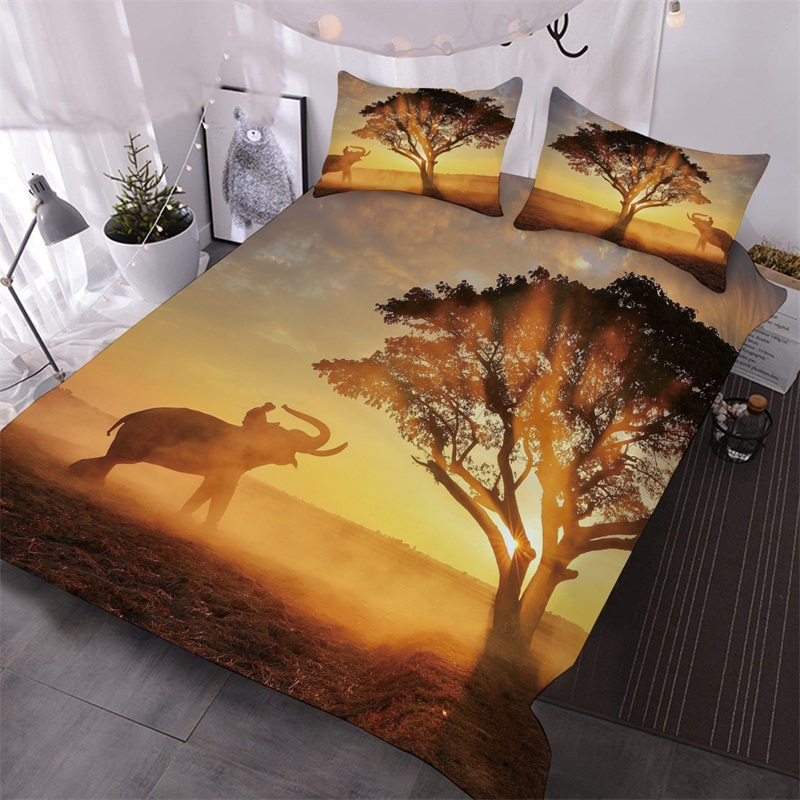 An Elephant And A Tree Under The Golden Sunset Printed 3-Piece Polyester Comforter Sets