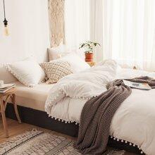 Pom Pom Solid Bedding Set Without Filler