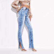 Bleach Wash Raw Slit Hem Skinny Jeans
