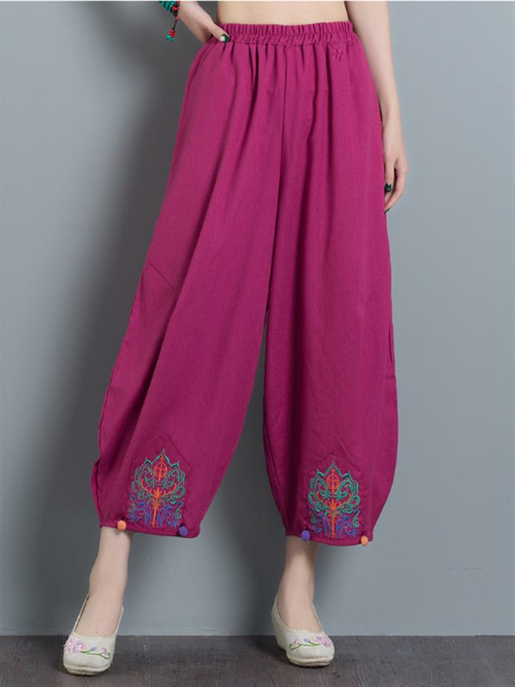 Vintage Embroidery Casual Loose Women Wide Leg Pants