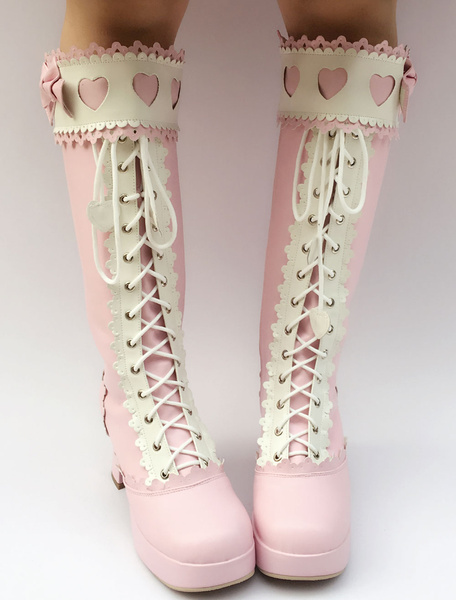 Milanoo Sweet Lolita Boots Pink Knee High Platform Chunky Heel Lace Up Bow Lolita High Boots With Heart Cutout