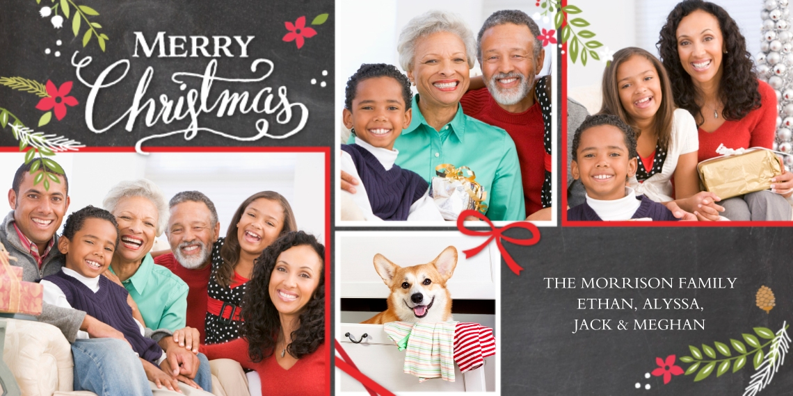 Christmas Photo Cards Flat Matte Photo Paper Cards with Envelopes, 4x8, Card & Stationery -Christmas Foliage Red Bow