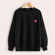 Pullover mit Herz Muster und sehr tief angesetzter Schulterpartie