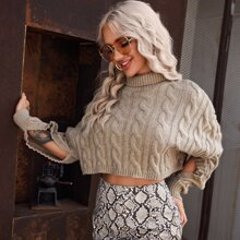 Cable Knit Split Sleeve Crop Sweater
