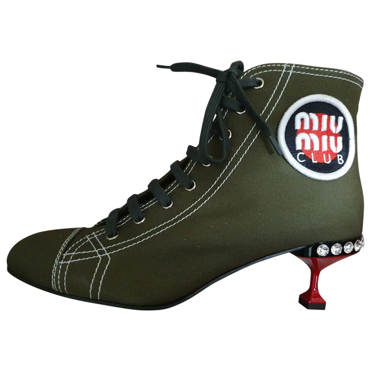 Miu Miu \N Khaki Cloth Ankle boots for Women 40 EU