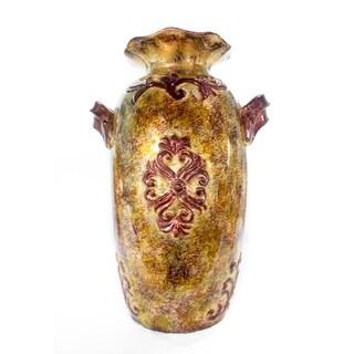 Mayim Foiled & Lacquered Ceramic Amphora Vase (Brown, Amber, Burgundy, Green)