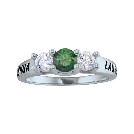 Personalized Simulated Birthstone and Cubic Zirconia 3-Stone Engraved Ring, 8 , White