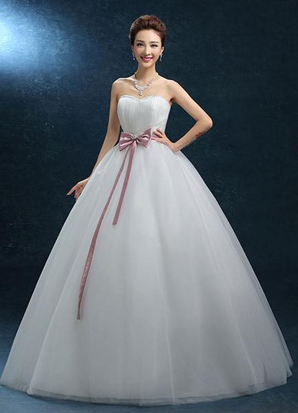 Milanoo Sweatheart Wedding Dress Strapless Ball Gown Beading Bridal Dress Tulle Backless Bow Ribbon Sash Floor Length Bridal Gown