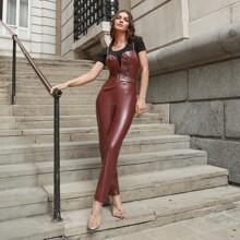 V-bar Buckle Belted PU Leather Bustier Cami Jumpsuit