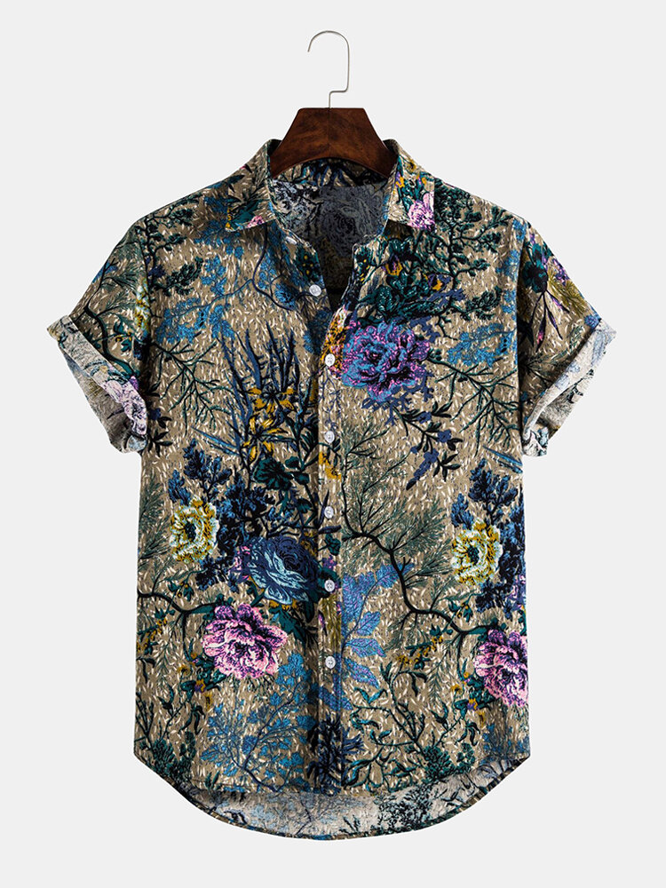 Mens 3D Printing Floral Cotton Casual Short Sleeve Shirts