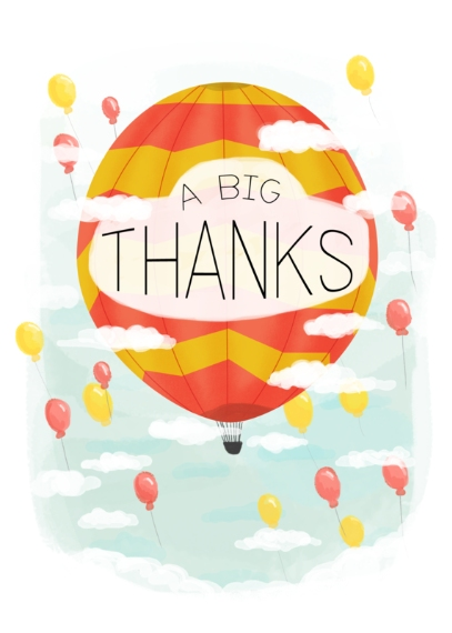 Thank You Cards 5x7 Cards, Premium Cardstock 120lb, Card & Stationery -Hot Air Thank You
