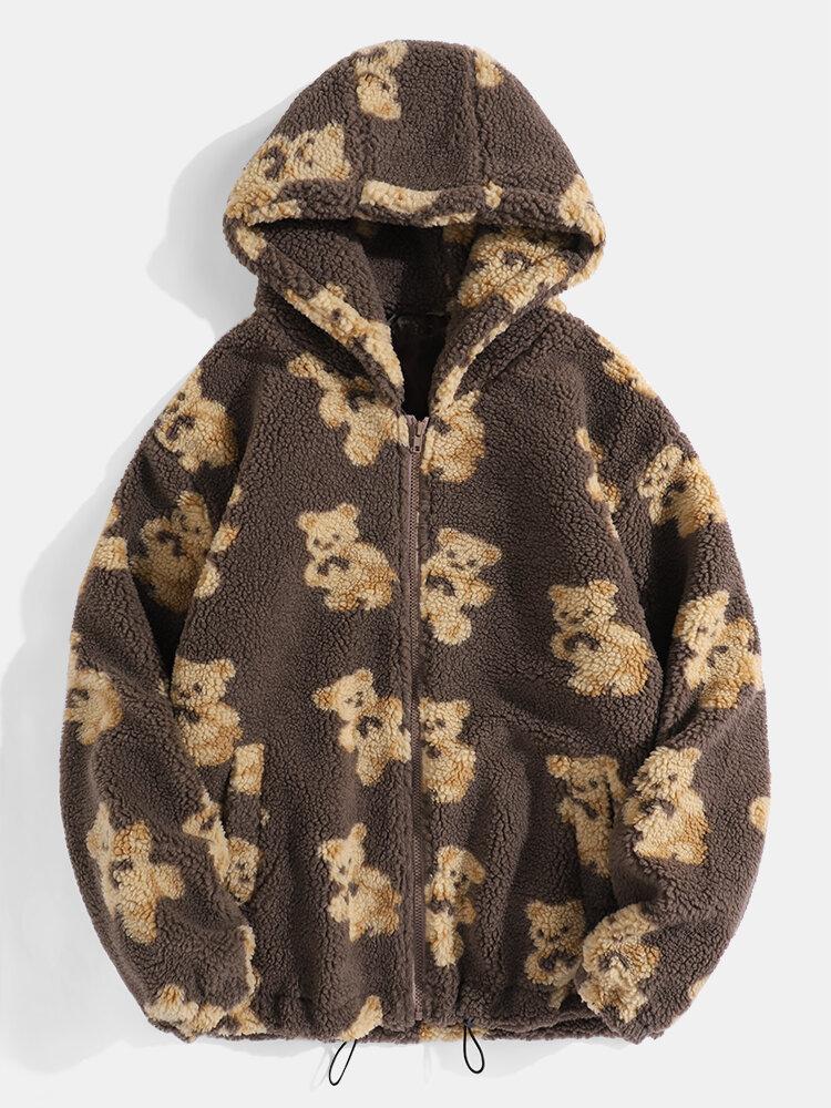 Mens Cartoon Cute Bear Fleece Thicken Zipper Daily Warm Hooded Jackets