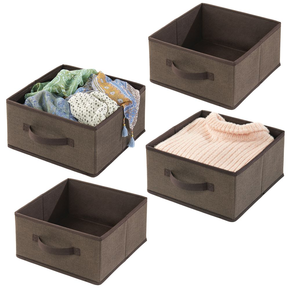 Fabric Home Storage Bin for Furniture Cubby Storage in Espresso, 10.5