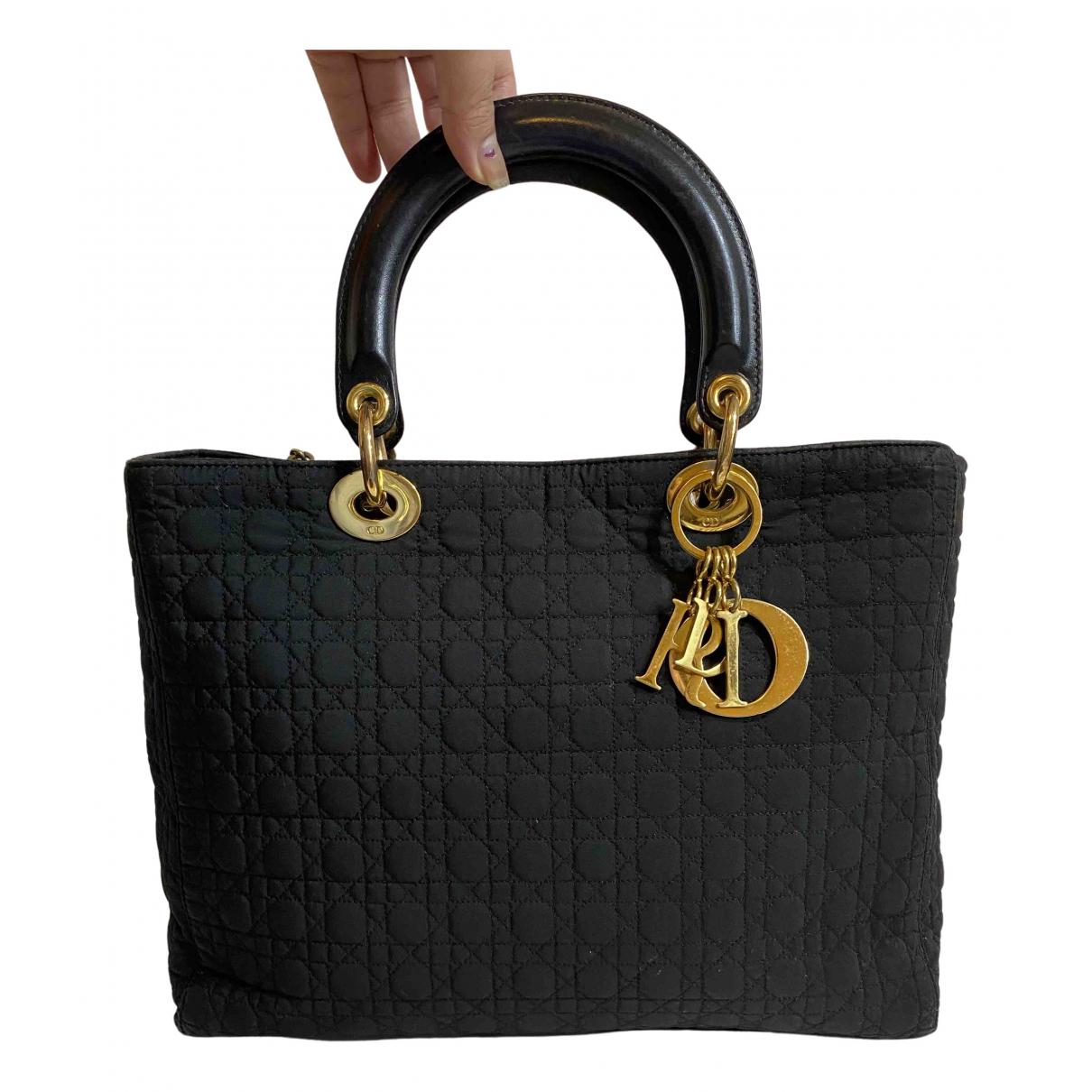 Dior Lady Dior Handtasche in  Schwarz Leinen