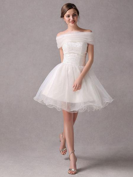 Milanoo Short IvoryStrapless A-line Beading Wedding Dress For Bride