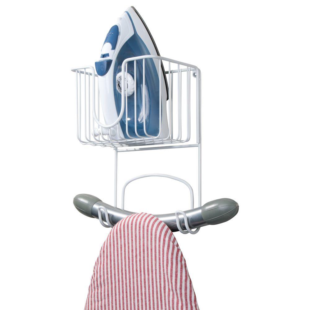 Wall Mount Iron, Ironing Board Holder Storage Basket - 8