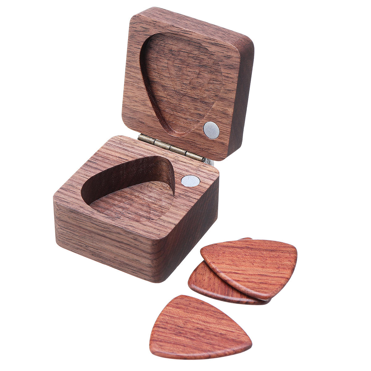 3 Pcs Wooden Heart-shaped Guitar Picks with Wooden Box
