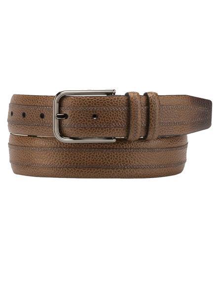 Mezlan Brand Men's Genuine Calfskin Cognac Skin Belt