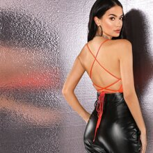 Lace-up Open Back Satin Halter Top