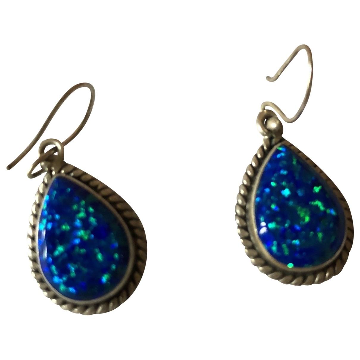 Non Signe / Unsigned Opale OhrRing in  Blau Silber