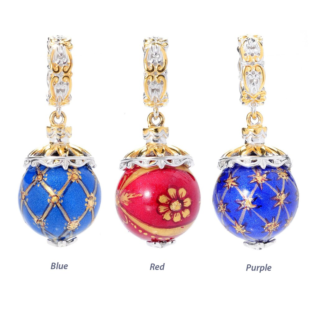 Michael Valitutti Palladium Silver Hand-Painted Round Agate Bead Drop Charm (Blue Agate)