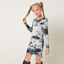 Girls Tie Dye Drawstring Side Dress