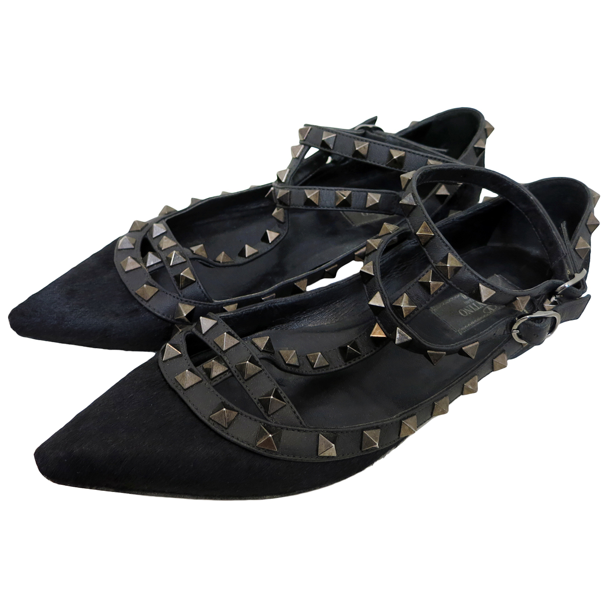 Valentino Garavani Rockstud Black Pony-style calfskin Flats for Women 37 IT