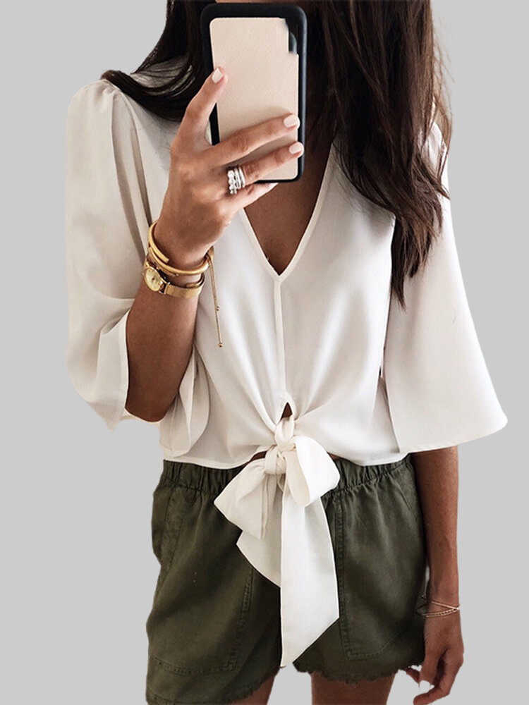 Bandage Solid Color V-neck 3/4 Sleeve Casual Blouse For Women