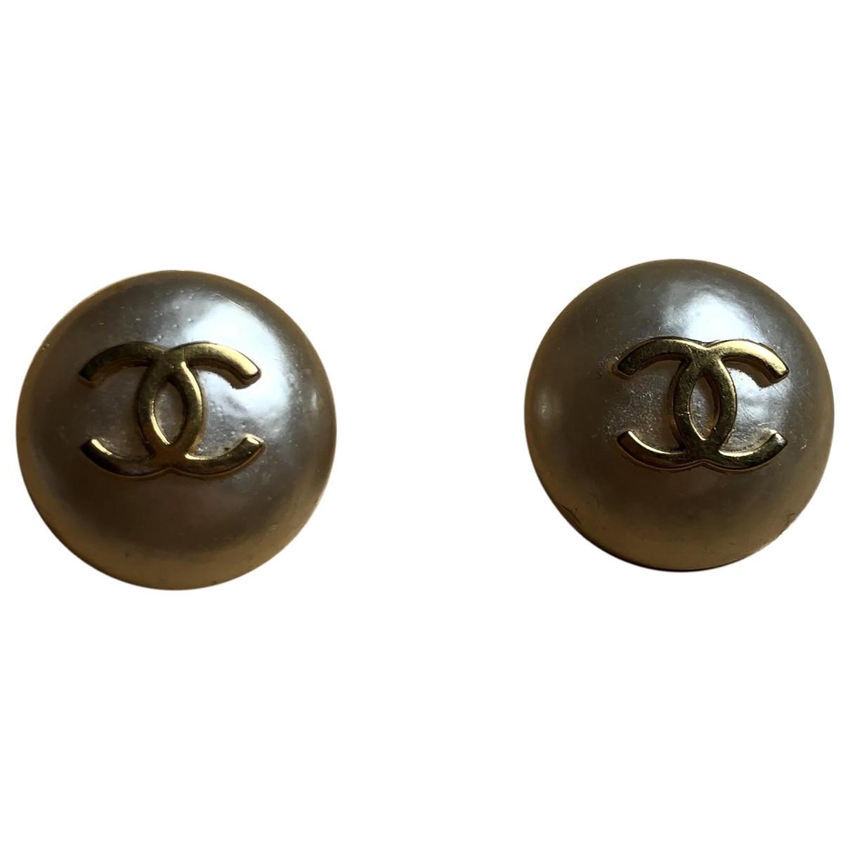 Chanel - Boucles doreilles CC pour femme en perles - dore