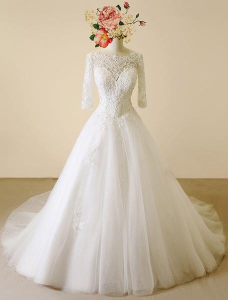Milanoo Lace Wedding Dress Backless Bateau Chapel Train Bridal Gown A-line Beading Half Sleeves Luxury Bridal Dress