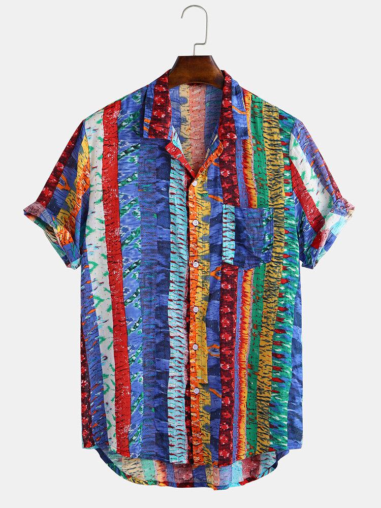 Mens Summer Graffiti Striped Printed Chest Pocket Turn Down Collar Short Sleeve Breathable Sshirts