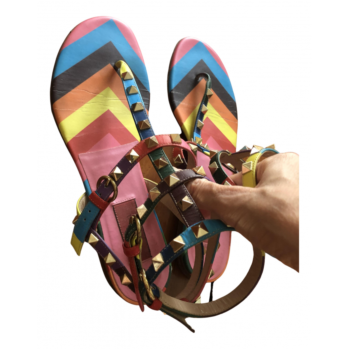 Valentino Garavani Rockstud Multicolour Leather Sandals for Women 38 IT