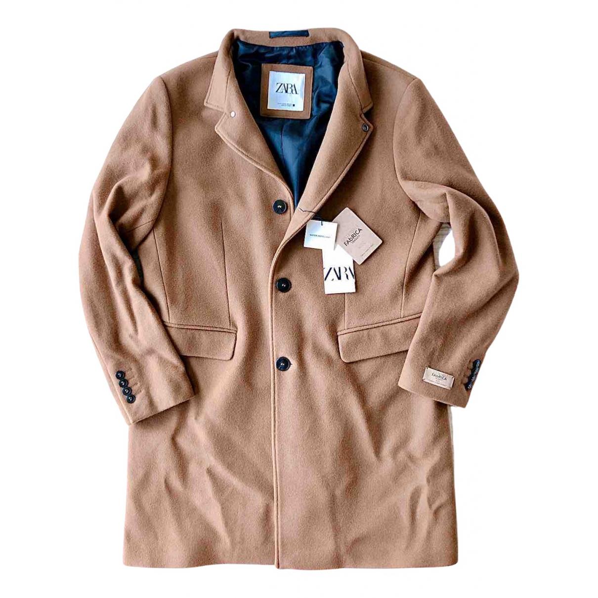Zara - Manteau   pour homme en laine - marron