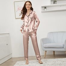 Heart Embroidery Button-up Satin PJ Set