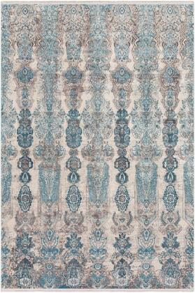 SOR2312-1215 12' x 15' Rug  in Medium Gray and Aqua and Dark Blue and Light Gray and Ivory and