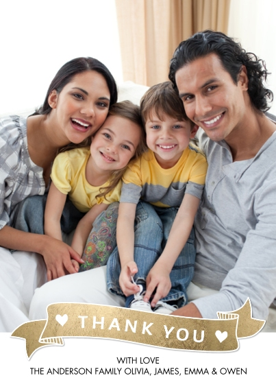 Thank You Cards 5x7 Cards, Standard Cardstock 85lb, Card & Stationery -Thank You Gold Banner