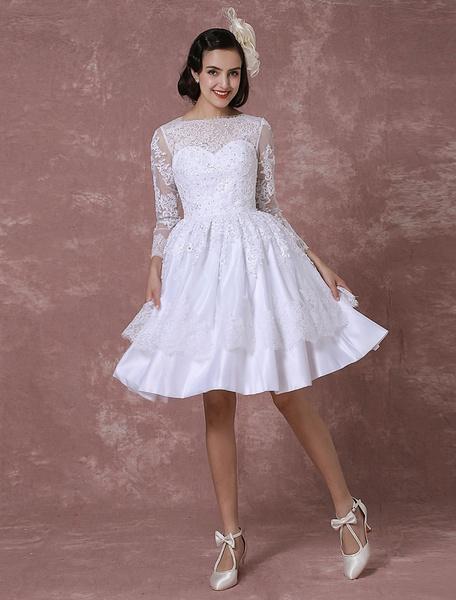 Milanoo Vestido de novia corto de linea A hasta la rodilla con manga larga con escote barco Cremallera